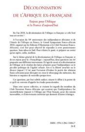 Décolonisation de l'Afrique ex-française ; enjeux pour l'Afrique et la France d'aujourd'hui - 4ème de couverture - Format classique