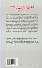L'Emergence Du Magique Dans La Pensee ; La Pensee De Secours - 4ème de couverture - Format classique