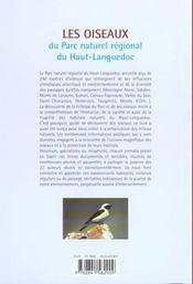 Les Oiseaux Du Parc Naturel Regional Du Haut-Languedoc - 4ème de couverture - Format classique