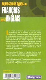 Expressions types du francais vers l'anglais - 4ème de couverture - Format classique
