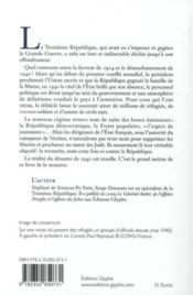 Le désastre de 1940 de l'union sacrée à Vichy - 4ème de couverture - Format classique