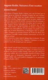 Auguste Rodin ; naissance d'une vocation - 4ème de couverture - Format classique