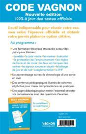 Code vagnon ; permis plaisance, option cotière, objectif 100% réussite (édition 2021) - 4ème de couverture - Format classique