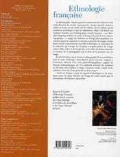 REVUE D'ETHNOLOGIE FRANCAISE N.1 ; arrêt sur images ; photographie et anthropologie (édition 2007) - 4ème de couverture - Format classique