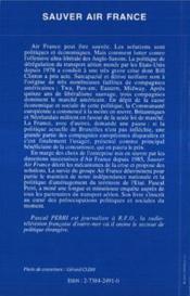 Sauver Air France - 4ème de couverture - Format classique