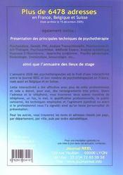 Annuaire 2006 Des Professionnels De La Psychotherapie, De La Relation D'Aide Et Du Bien-Etre - 4ème de couverture - Format classique