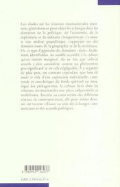 Relations Internationales Echanges Culturels Et Reseaux Intellectuels - 4ème de couverture - Format classique