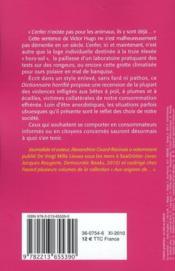 Dictionnaire horrifié de la souffrance animale - 4ème de couverture - Format classique