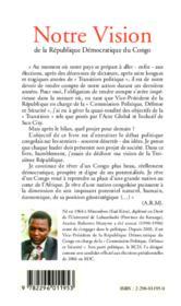 Notre vision de la république démocratique du congo - Couverture - Format classique