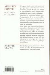Auguste Comte ; la politique et la science - 4ème de couverture - Format classique