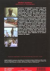 Shohei Imamura ; Entretiens Et Temoignages - 4ème de couverture - Format classique