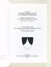 Actes du chapitre general electif de providence (2001) de l'ordre des freres precheurq - Couverture - Format classique