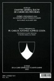 Actes du chapitre general electif de providence (2001) de l'ordre des freres precheurq - 4ème de couverture - Format classique