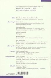 Revue Nouvelles Questions Feministes N.21/3 - 4ème de couverture - Format classique