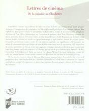 Lettres de cinéma ; de la missive au film lettré - 4ème de couverture - Format classique