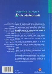 T.d droit administratif - 4ème de couverture - Format classique