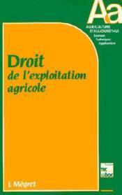 Droit De L'Exploitation Agricole - Couverture - Format classique