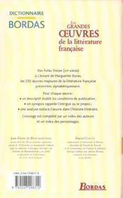 Les grandes oeuvres de la littérature française - 4ème de couverture - Format classique