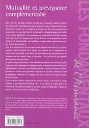 Mutualite Et Prevoyance Complementaire - 4ème de couverture - Format classique