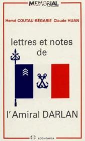 Lettres Notes Amiral Darlan - Couverture - Format classique