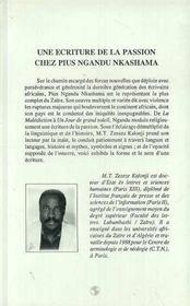 Une Ecriture De La Passion Chez Pius Ngandu Nkashama - 4ème de couverture - Format classique
