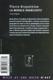 La morale anarchiste - 4ème de couverture - Format classique
