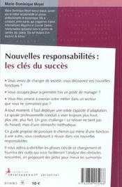 Nouvelles responsabilites, les cles du succes - 4ème de couverture - Format classique