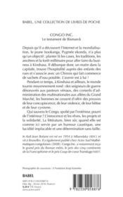 Congo Inc. ; le testament de Bismarck - 4ème de couverture - Format classique