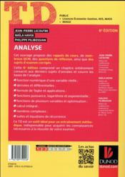 TD ; analyse (6e édition) - 4ème de couverture - Format classique