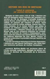 Histoire des rois de bretagne - 4ème de couverture - Format classique