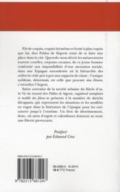 La vie du truand don Pablos de Ségovie, vagabond exemplaire et modèle des filous - 4ème de couverture - Format classique