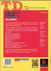 TD ; algèbre (5e édition) - 4ème de couverture - Format classique