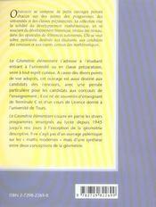 La Geometrie Elementaire Au Fil De Son Histoire Dans Les Programmes Francais - 4ème de couverture - Format classique