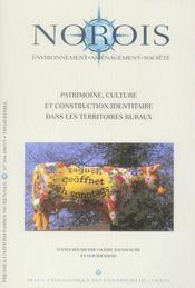 Revue Norois ; Patrimoine, Culture Et Construction Identitaire Dans Les Territoires Ruraux - Intérieur - Format classique