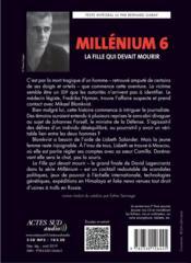 Millénium T.6 ; la fille qui devait mourir - 4ème de couverture - Format classique