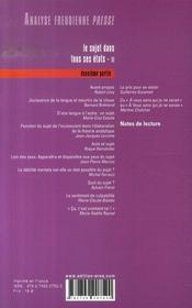 ANALYSE FREUDIENNE T.14 ; le sujet dans tous ses états t.2 ; écrits - 4ème de couverture - Format classique