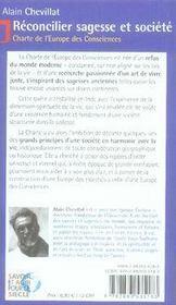 Réconcilier sagesse et société ; charte de l'europe des consciences - 4ème de couverture - Format classique