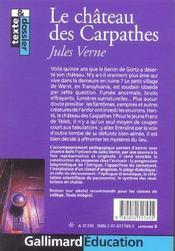 Le Chateau Des Carpathes - 4ème de couverture - Format classique