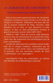 Donation De Constantin (La) - 4ème de couverture - Format classique