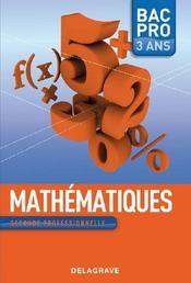 Mathématiques ; BAC pro ; seconde professionnelle - Couverture - Format classique