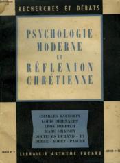 Psychologie Moderne Et Reflexion Chretienne. Recherches Et Debats N°3. - Couverture - Format classique
