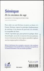 Sénèque, de la constance du sage ; la tranquilité de l'âme - 4ème de couverture - Format classique
