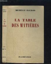 La Table Des Matieres - Couverture - Format classique