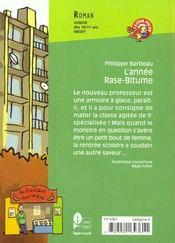 L'annee rase-bitume (anc ed) - 4ème de couverture - Format classique