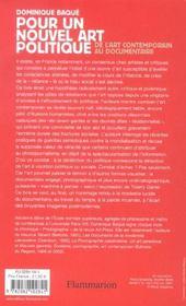 Pour un nouvel art politique - de l'art contemporain au documentaire - 4ème de couverture - Format classique