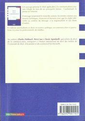 Droit De La Communication: Audiovisuel - Presse - Internet - 1ere Ed. - 4ème de couverture - Format classique
