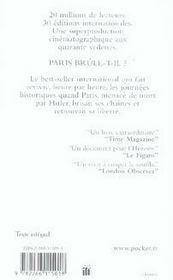 Paris brûle-t-il ? - 4ème de couverture - Format classique