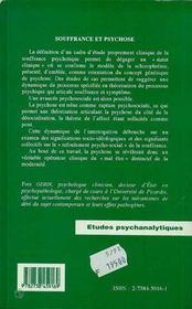 Souffrance Et Psychose ; Psychopathologie Sociale Clinique - 4ème de couverture - Format classique