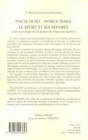 Le sport et ses affaires : une sociologie de la justice de l'epreuve sportive - 4ème de couverture - Format classique