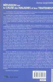 Réflexion sur la cause des maladies et leur traitement - 4ème de couverture - Format classique